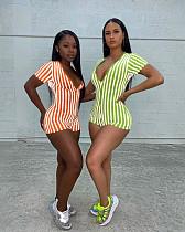 2020 Sexy Deep V Stripes Skinny Rompers RSN-728