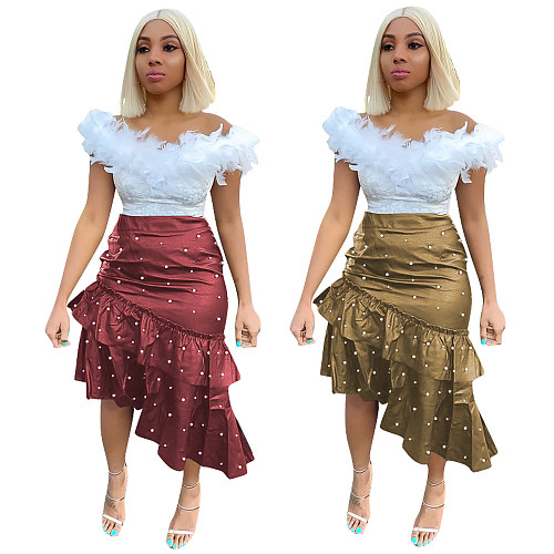 Leisure Nail Bead Irregular PU Leather Skirt OY-6026