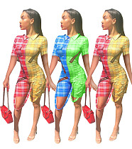Fashion Printed Short Sleeves Lapel Patchwork Rompers MOY-5076