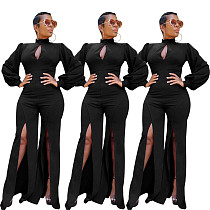 Solid Color Full Sleeves Splits Long Jumpsuit MOY-5115