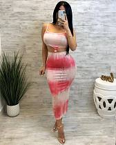 Stylish Prints Straps Package Hips Nightclub Two Pieces Set MOY-5075