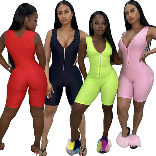 2020 Summer Solid Color Sleeveless Zipper Tight Romper LUO-3052
