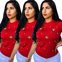 Women Round Neck Short Sleeves Nail Bead T-shirt PIN-8291