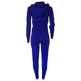 Solid Color Zipper Hoodies With Skinny Pants Two Pieces Outfits XMY-9179
