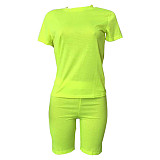 Leisure Women Solid Color Round Collar Two Pieces Short Sets XMY-9171