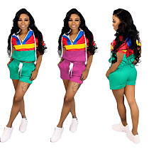 Fashion Splicing Hoodies Tops And Shorts 2 Pieces Outfits SH-586