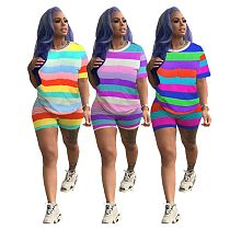 Lovely Sports Rainbow Stripe Leisure Two Pieces Short Set MTY-6198