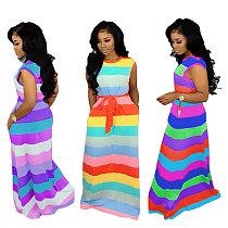 Sleeveless Loose Rainbow Stripe Maxi Dress with Belt MTY-6186