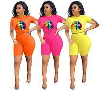 Casual Lips Prints Sport Two Pieces Short Outfits MOF-5065