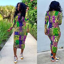 2020 Fashion Leopard Printed Long Sleeves Skinny Maxi Dress SH-3700