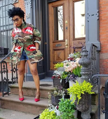 2020 Fashion Lips Sequin Camouflage Pocket Coats Plus Size MOF-5109