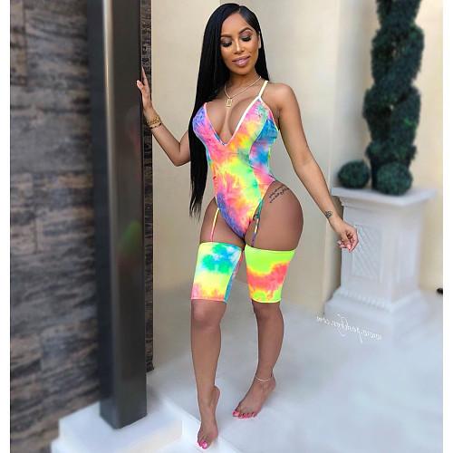 2020 Sexy Deep V Tie-dye Nightclub Bodysuits YH-5061
