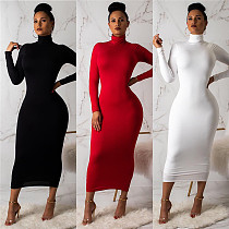 Solid Color High Neck Long Sleeve Skinny Maxi Dress BT-550