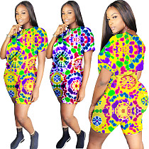 Vogue Printed Round Neck T-shirt With Skinny Shorts 2 Pieces Outfits YH-5071