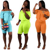 Sexy Off Shoulder Solid Color 2 Pieces Short Outfits LP-6139