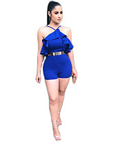 Sexy Backless Ruffle Blue Onesies Romper (without Belt)YM-9015
