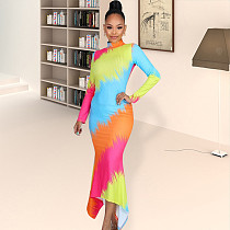 Colorful Prints High Neck Long Sleeve Skinny Irregular Maxi Dress YN-062