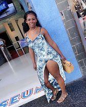 Women Sexy Sling Side Split Bodycon Dress BANM-9043