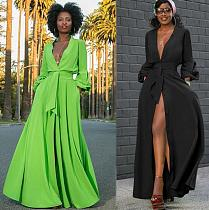 2020 Sexy Deep V Full Sleeve Floor-length Maxi Dress MTY-6206