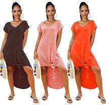 2020 Summer Solid Color V Neck Short Sleeves Loose Slits Maxi Dress FSL-9023