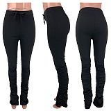 Women Solid Color Folds Micro-horn Sweatpants CH-8099