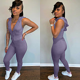 Leisure Women Zipper Sleeveless Hoodies And Playsuits 2 Pieces Outfits CH-8101