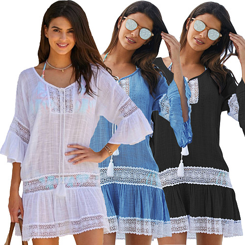 2020 Summer Half Sleeves Round Collar Mini Beach Dress SMR-8925