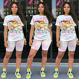 Vogue Printed Round Neck Short Sleeve 2 Pieces Short Suits TE-3982
