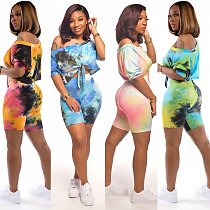 2020 Vogue Tie-dye Off Shoulder Two Pieces Short Outfits CY-2132