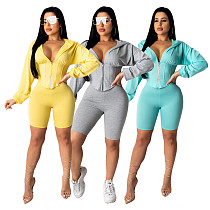 2020 New Women Zipper Long Sleeves Hoodies With Bodycon Shorts 2 Pieces CY-2138
