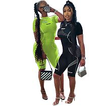 2020 Summer Women Patchwork Sport Two Pieces Short Outfits YSF-328