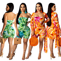 Vogue Printed Strapless Rompers + Coat 2 Pieces Set TR-1009
