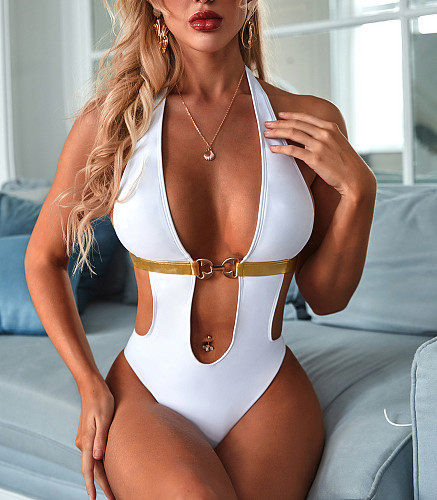 2020 Sexy Open Back Halter Metal Buckle Padded One Pieces Swimwear MJ-2110