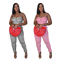 Leisure Grid Printed Ruffles Crop Top And Bodycon Pants 2 Pieces BGN-048