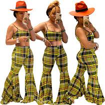 Vogue Plaid Print Straps Crop Top And Flared Long Pants 2 Pieces Suits MN-9233