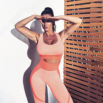 Women Backless Sleeveless Patchwork Yoga Suits SXE-1735098