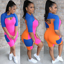 2020 Summer Women Splicing Rompers 2 Pieces Short Sets MN-9231