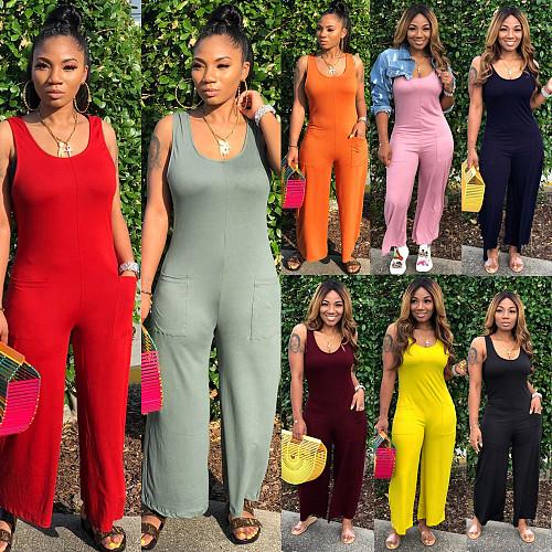 Round Neck Sleeveless Wide Leg Nightclub Women Jumpsuits NY-8839
