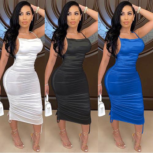 2020 Summer Women Backless Straps Satin Tight Maxi Dress BGN-050