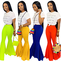 Women Tight Pure Color Long  Flared Pants Plus Size YN-009