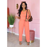 Casual Women Solid Color Round Collar Sleeveless Jumpsuit MTY-6295