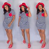 Casual Short Sleeve Round Neck Stripes Pocket Mini T-shirt Dress SH-3617