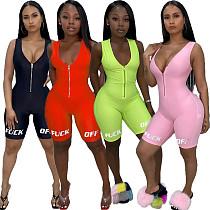 2020 New Women Sleeveless Letter Print Zipper Short Jumpsuits LUO-3053