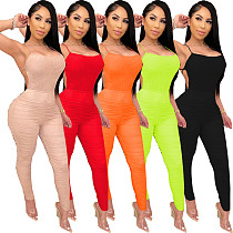 Sexy Strapless Pure Color Straps Folds Bodycon Jumpsuit LUO-6266