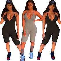2020 New Sleeveless Low Cut Backless Short Jumpsuits QZX-6121