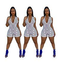 Fashion Milk Silk Striped Printing Romper YSF-336