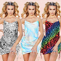 2020 Sexy Backless Halter Printed Mini Nightclub Dress BY-3384
