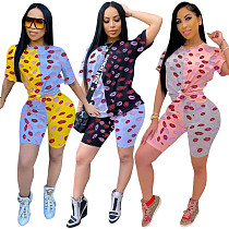 Casual Lips Print T-shirt And Skinny Shorts 2 Pieces Set RSN-737