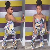 Sexy Wrapped Chest Off Shoulder Printed Skinny Jumpsuit SC-812