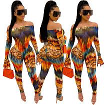 Women Printed Off Shoulder Long Sleeve Slim Jumpsuits SHA-6135